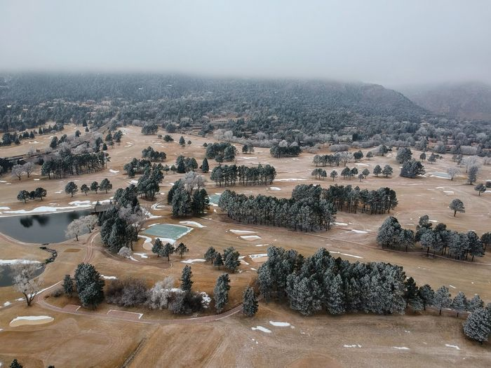 Frosted Golf Greens Landscape Drone  Winter Golf Nature Day Outdoors No People Sky Beauty In Nature