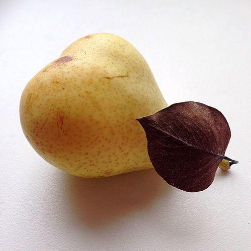 Pear White Background Leaf Fruit