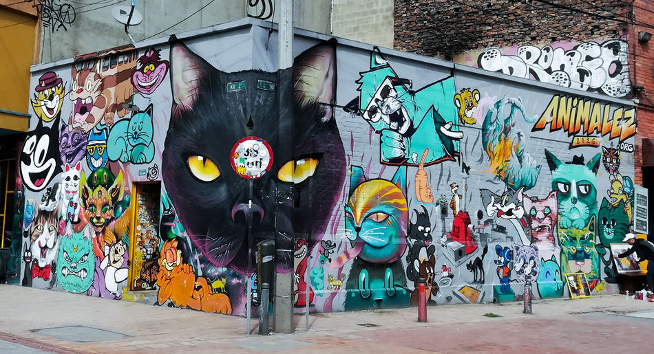 Perspective Graffiti Street Art Multi Colored Creativity Cats TomAndJerry Felixcat Artist Spray Paint Mural Art Ilovephotography Taking Photos Looking At Camera Random City Life City Crazy Moments