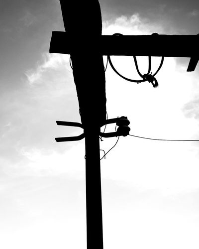 Silhouette Hanging Basketball Hoop Sky Cloud - Sky Telephone Line Electricity Tower Electricity Pylon Cable Electricity  Link