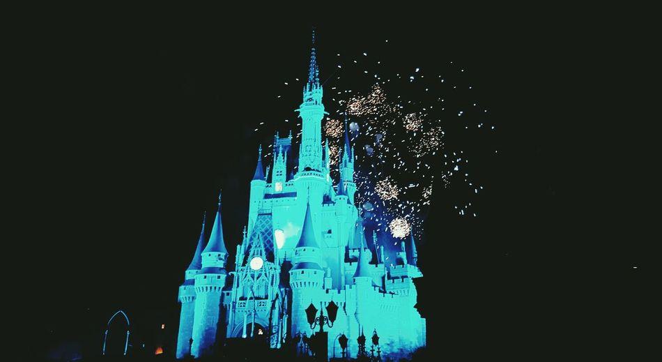 DisneyWorld Castle Cinderellas Castle Fireworks