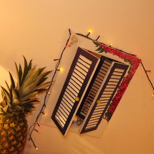 Pineapple Fever Mirror inside a Greek Window Blue Bedroom Wall Dreamscape Snailshell Painted Acrylic Psychedelic