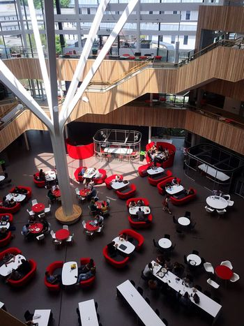 University University Campus New Building  Fusion Building Architecture Sustainability Environment Architectureporn Light And Shadow Red Learning Enjoying The View Fromabove Modern Architecture Modern Bournemouth OpenEdit Afterexam Summertime Canteen Interior Style