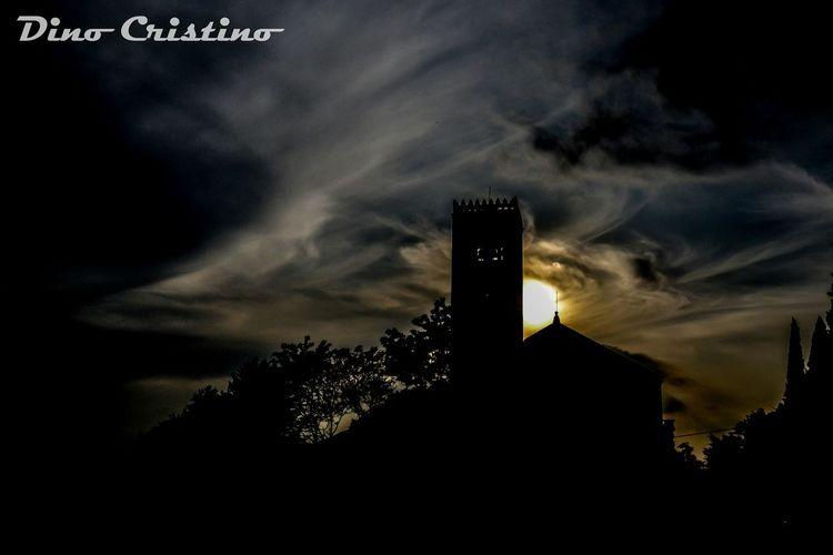 Paesaggi Paesaggio Silhouette Terra  Chiesa Strutture Controluce Tramonto Cielo Nuvole Colori Ombre Veneto Dino Cristino