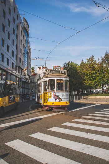 Architecture City City Street Lisboa Lisbon Lisbon Tram Portugal Public Transportation Street Transportation Urban Road Yellow Tram