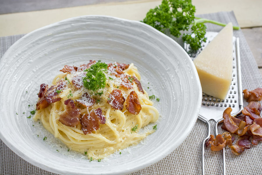 Bacon Carbonara Cheese Food Food And Drink Freshness Healthy Eating Herb Italian Food Italy Pasley Pasta Plate Spaghetti