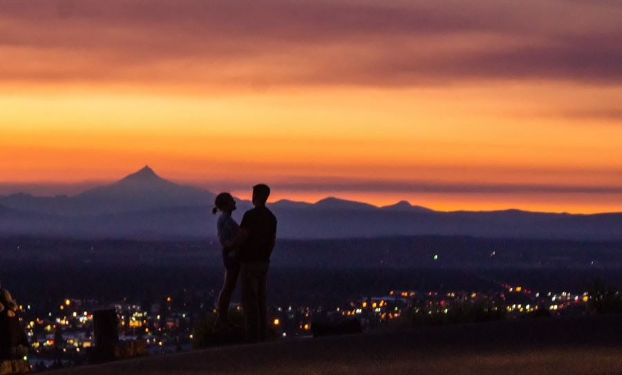Bend Oregon Bonding City Love Mountain Nature Night People Real People Scenics Silhouette Sunset Two People