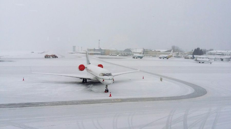 White and red Aircraft White & Red Cold Temperature Snow Winter Transportation Mode Of Transportation Nature Frozen