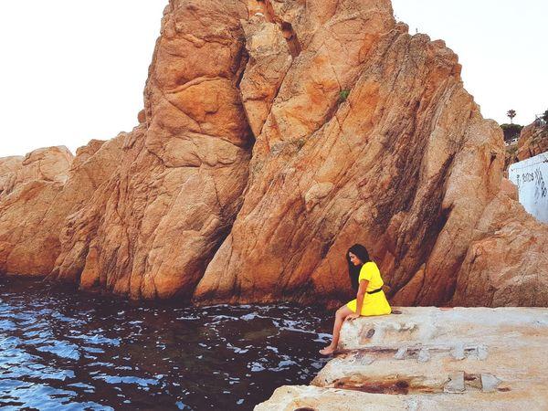 Sitting Rock - Object Relaxation Women Rear View Rock Formation Sky