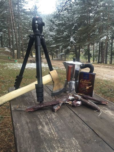 camping pleasure 👈 Camping Outdoor Photography Outdoors Nature Campfire Mokapot Coffee Knife Forest Trees Snow ❄ Mountain