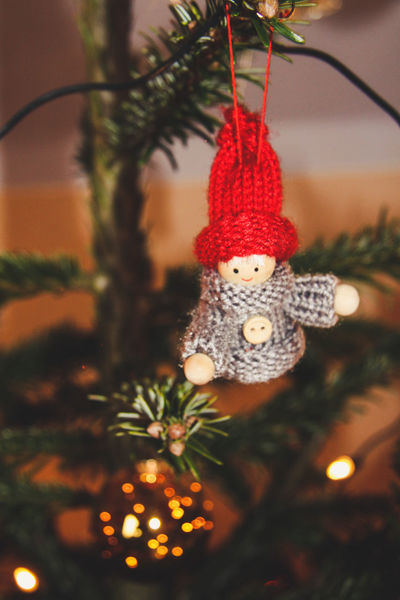 Old School Celebration Christmas Christmas Decoration Christmas Lights Christmas Ornament Christmas Tree Close-up Crocheted Day Decoration Focus On Foreground Hanging Holiday - Event Illuminated Indoors  No People Red Self Made Tradition Tree