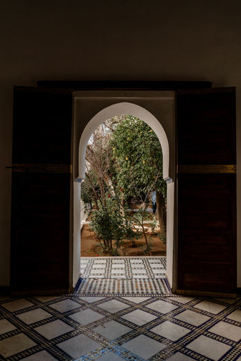 Architecture Plant Entrance Built Structure No People Open Sunlight Arch Tiled Floor Courtyard  Indoors  Building Marrakech Marrakesh Morocco Travel Destinations Tourist Attraction  Door Bahia Palace Garden Secret Tranquility
