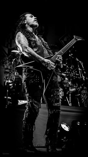 Phill Demmel of Machine Head. Bloodstone and Diamonds World Tour - September 2015 Arts Culture And Entertainment Band Black And White Blackandwhite Concert Concert Photography Eye4photography  EyeEm Best Shots EyeEm Gallery EyeEmBestPics Gig Gig Photography Guitar Guitarist Heavy Metal Jackson Guitar Machine Head Music Music Is My Life Music Photography  Musician Phil Demmel Rock Star