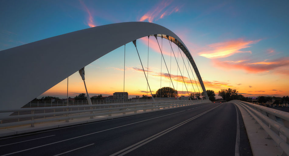 Ponte Meyer, Alessandria Architecture Blue Hour Modern Architecture Perspectives on Nature Piemonte Road Alessandria Bridge Clouds And Sky Empty Roads Italy No People, Ponte Meyer Sunset
