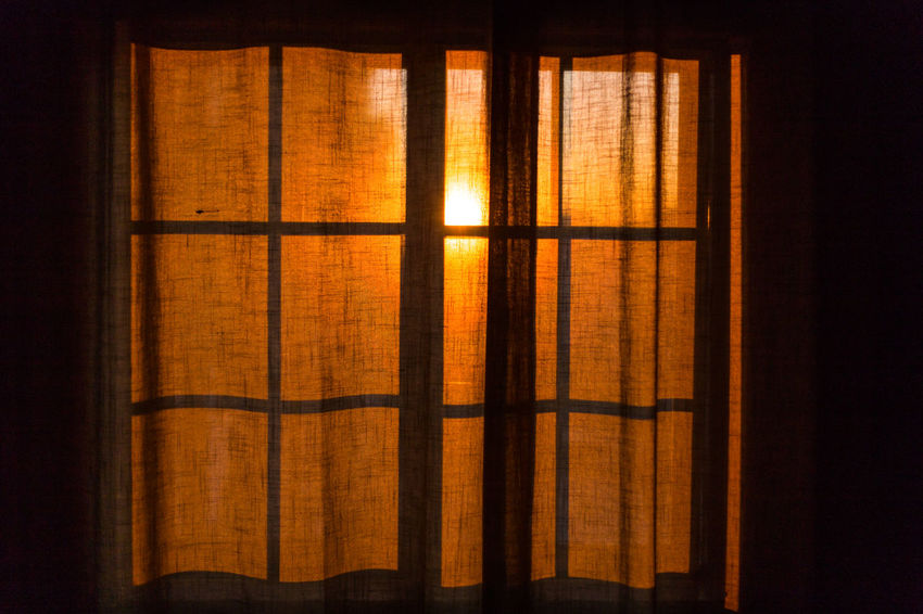 Sunset at home! Close-up Curtain Day Drapes  Indoors  No People Sillouette Sunset Warm Colors Window