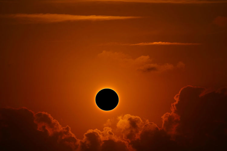 Scenic view of annular solar eclipse during sunset