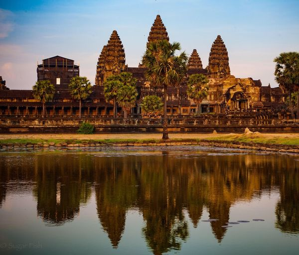 Angkor Wat Landscapes Asian  ASIA Travel Traveling Light And Shadow Trip Trip Photo Calm Sunset Travel Photography Landscape Sky Twilight Sunrise_sunsets_aroundworld Water Reflections