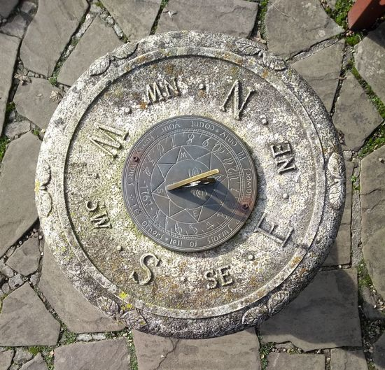 High angle view of old clock