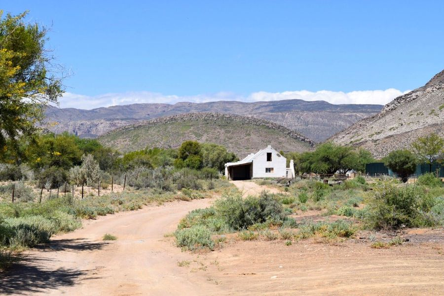 Mountain Landscape Non-urban Scene Tranquil Scene Mountain Range Clear Sky Nature Scenics South Africa Karoo Boere Farmlife Weltevrede Drought Global Warming Semi-desert One of these lonesome Karoo Cottages