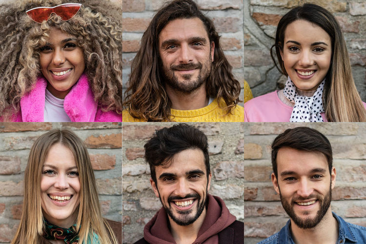 Mosaic of young people smiling headshot Portrait Smiling Happiness Group Of People Young Adult Headshot Looking At Camera Emotion Adult Front View Young Women People Brick Women Hairstyle Togetherness Men Young Men Fun Wall Mosaic Adult Friendship Outdoors Males  Females Beard Brown Looking At Camera