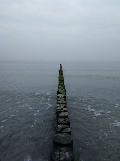 Fischland Ocean City Water Beach Lake Wooden Post Business Finance And Industry Sky Landscape Foggy Weather