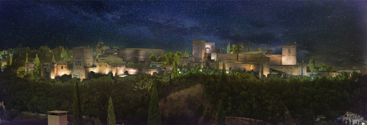 Alhambra De Granada  Andalucía Andalusia Granada Panorama SPAIN Architecture Astronomy Beauty In Nature Building Building Exterior Built Structure Dusk History Illuminated Nature Night No People Outdoors Plant Scenics - Nature Sky Space Star - Space