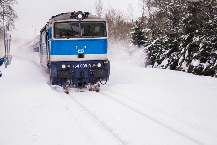 Train on snow covered field