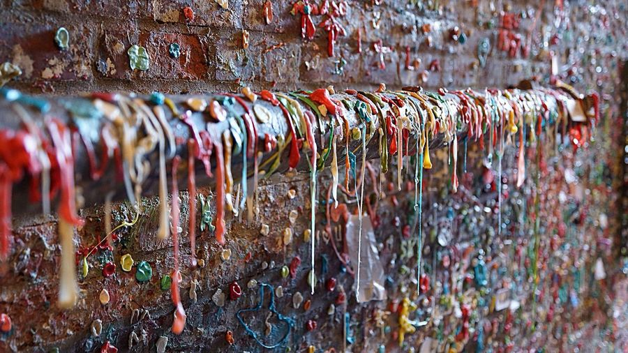 Close-up of gum wall