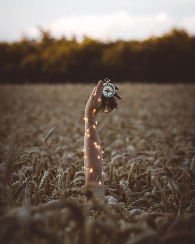 Cropped hand of woman holding compass with illuminated string light amidst wheat field