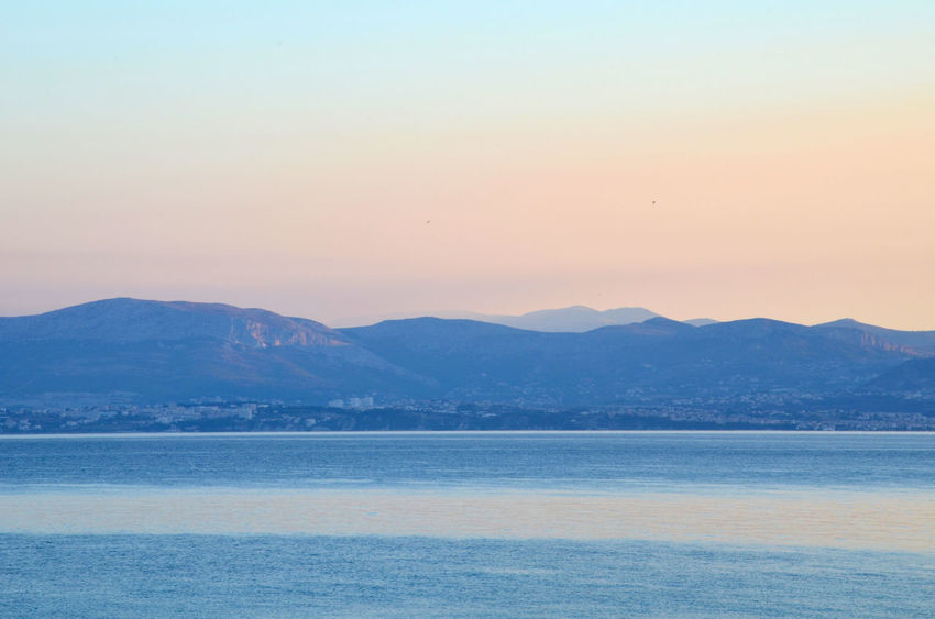 Morning view from Brač towards mainland of Croatia Beauty In Nature Clear Sky Day Mountain Mountain Range Nature No People Outdoors Scenics Sea Sky Sunrise Tranquil Scene Tranquility View Into Land Water