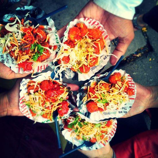 Its nice to b unhygienic sometimes Street Food Friends Fun Manchurain Yummmmm  College Time Instapic Memories