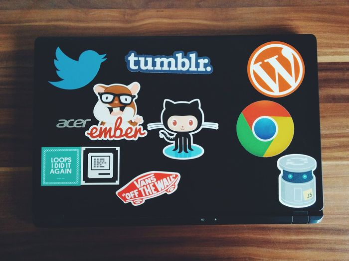 making pogress with the stickers on my laptop!