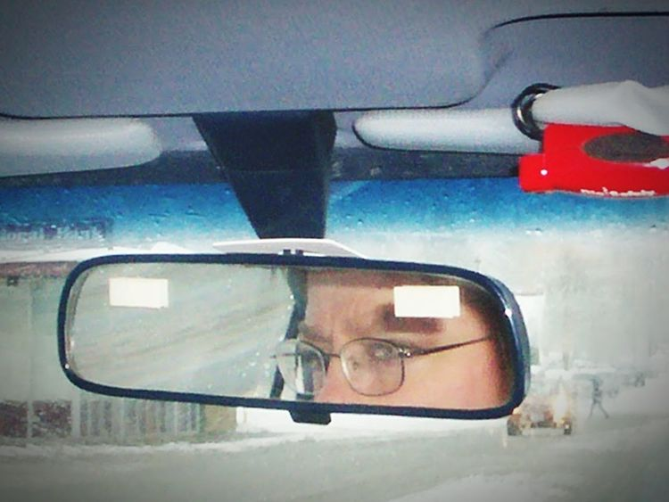 Break The Mold People One Woman Only Vacations Close-up Adult EyeEm Gallery Taking Photos Eyeem Photography Day Point Of View One Person Outdoors Headshot Mirror Pic Eyes Snowy Days... Alaska Life Driving Back Seat Pic Glasses Reflect Looking Through Window Looking Out