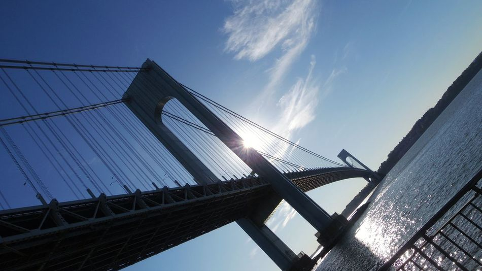The one bridge that needs a bike lane. Verrazano-Narrows Bridge Brooklyn Bridge - Man Made Structure Connection Built Structure Low Angle View Architecture Suspension Bridge Sky Outdoors Day City Horizon Over Water Sea Water Reflecting Water Tranquil Scene Cloud - Sky Scenics Sun Photography