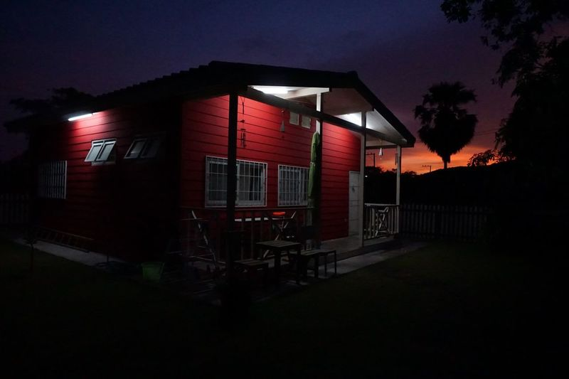 Red hut in the
