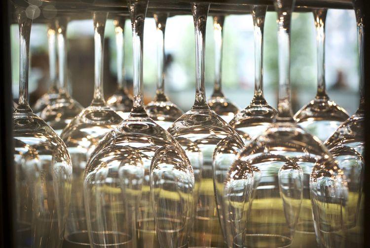 Full frame shot of wineglasses at bar