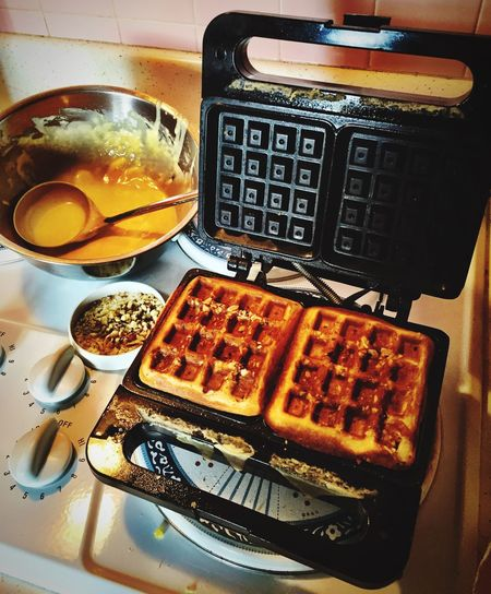 """Waffle Time"" Walnut crested waffles are on the breakfast menu. Waffles!! Homemade Waffles Food Foodphotography Breakfast Walnuts"