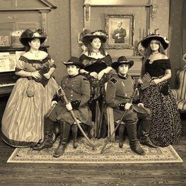 Cival War Southern Belle Men In Uniform Antique
