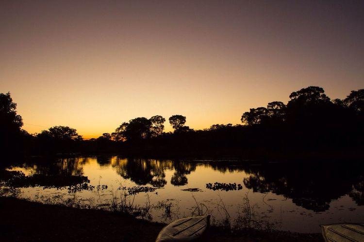 Pantanal River Sunset Paddles Canoeing Nature Yellow Sky Riverside