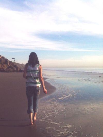 A peaceful walk Being A Beach Bum Sea Beach Walking Alone Thought Sunset Eyeemphoto
