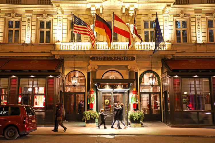Hotel Sacher in Vienna, Austria Architecture Built Structure Building Exterior Window City Vienna Vienna_city Vienna, Austria Vienna Austria Vienna View  Sacher Sacher Hotel Sachertorte Sacher Torte Vienna Night Flags In The Wind  Nightphotography Nightlife Night City Night City Life City City Street Night Lights Nightscape Night Photography Night Night Urbanscape