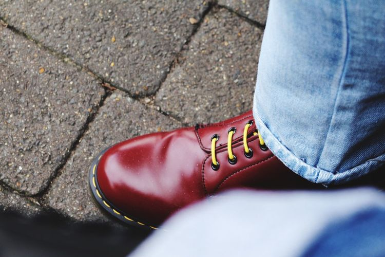 EyeEm Selects Dr Martens Boots Dr Martens Dr Martens Style Cherry Red Yellow Laces Punk Skinhead Mod Sneeky Red Picked By EyeEm Selects Picked By EyeEm Boots Dr Marten Boots