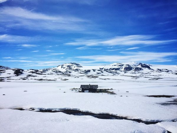 scenic view of snowcapped mountains against blue sky Snow Winter Nature Tranquil Scene Weather Beauty In Nature Scenics Tranquility Sky Frozen Mountain Outdoors Landscape No People Cloud - Sky Remote Day Snowcapped Mountain Mountain Range The Great Outdoors - 2017 EyeEm Awards Travel Destinations Norway Norway🇳🇴