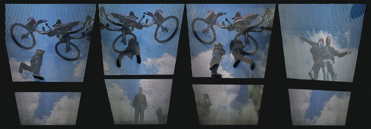 Abstract Backgrounds Bicycles Ceiling Design Full Frame Geometric Shapes Geometry Glass Glass - Material Horizontal Symmetry London Millennium Bridge Modern Pattern Screen Sky And Clouds Streetart Transparent Window Lost In London