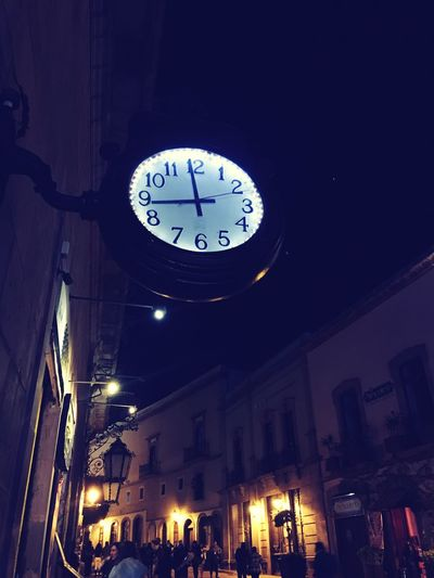 Taking Photos Clock Time Night Low Angle View Illuminated Built Structure Clock Face Hanging