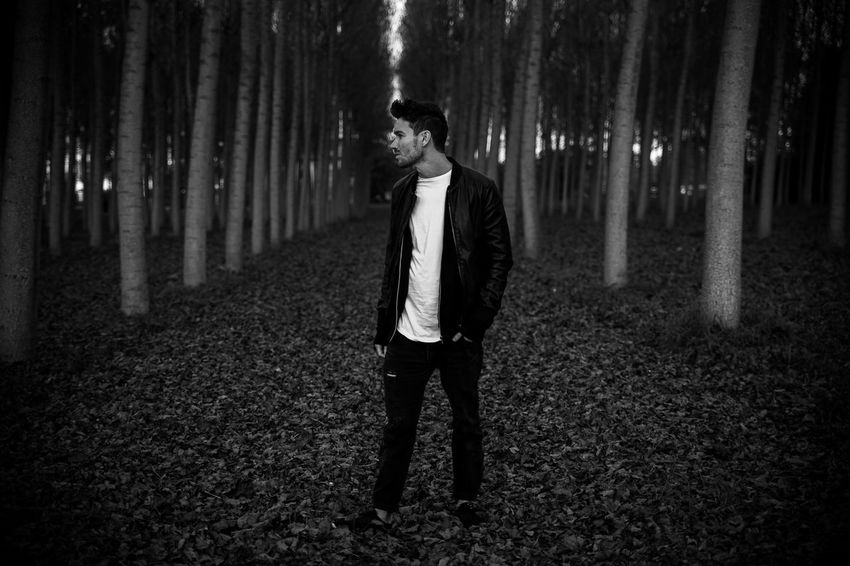 Adult Adults Only Black And White Dark Fashion Forest Midnight Nature Night One Man Only One Person Only Men Outdoors People Perspective Style Tranquility Tree Trees Young Adult