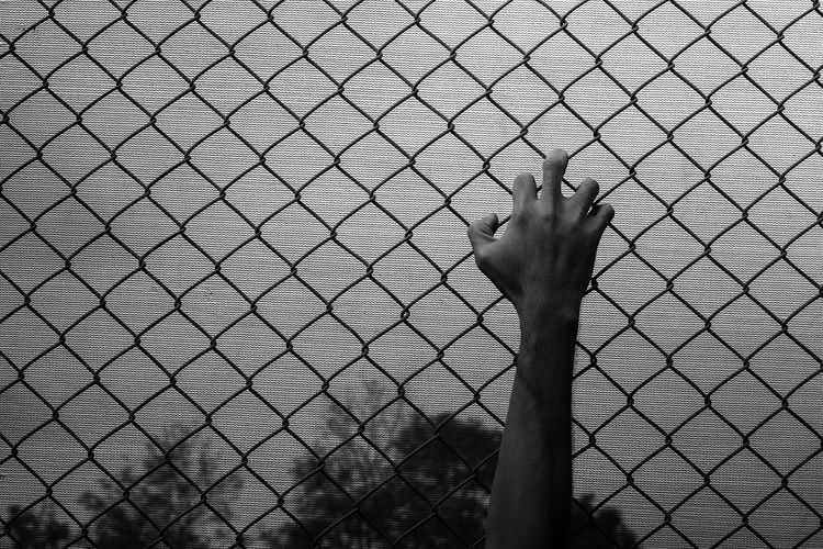 Person hand seen through chainlink fence