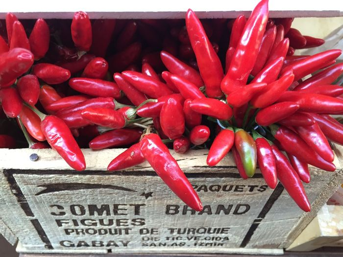 Red Pepper Chili Pepper Freshness Food And Drink Spice Text Vegetable Large Group Of Objects Food Red Chili Pepper No People Retail  Close-up Market Abundance Western Script For Sale Day High Angle View Sale Consumerism Autumn Mood