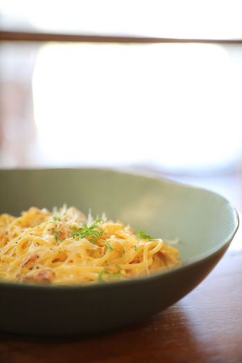 Spaghetti Carbonara Carbonara Food And Drink Food Ready-to-eat Freshness Wellbeing Indoors  Selective Focus Still Life Healthy Eating Pasta Italian Food Serving Size Bowl Focus On Foreground Plate Indulgence Herb Garnish Temptation Crockery