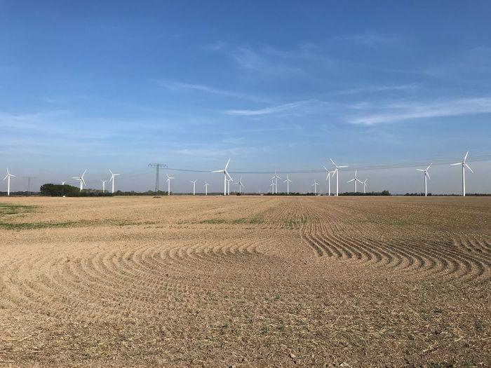 Wind turbines on field against blue sky
